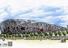 北京 鸟巢体育馆 手绘效果图