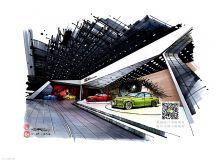 手绘奥迪汽车展厅(清晰大图)欢迎交流