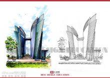 天津合一设计教育考研,建筑马克笔手绘效果图