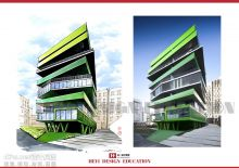 建筑马克笔手绘效果图-天津合一设计教育